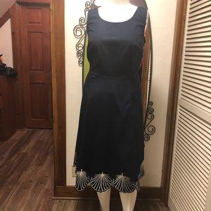 New eShatki Dress Navy with Scalloped Hem